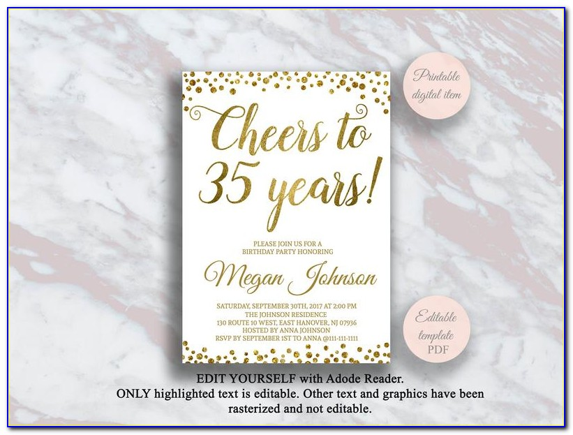 35th Birthday Invitations For Her