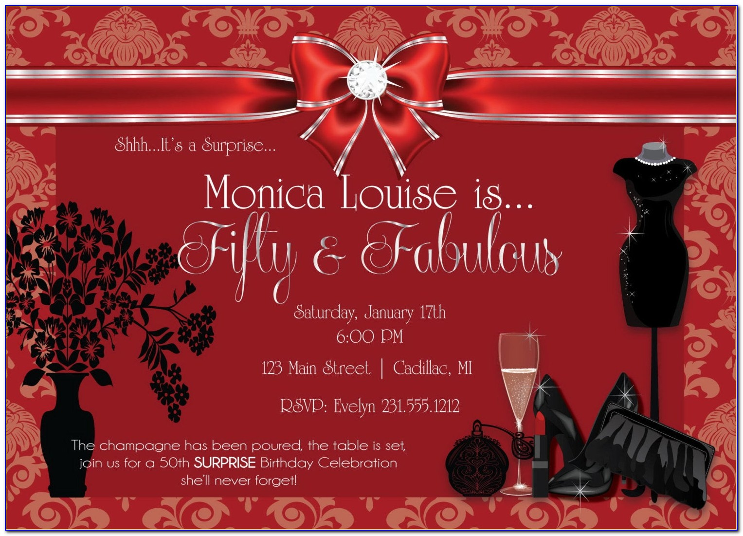 50 And Fabulous Party Invitations