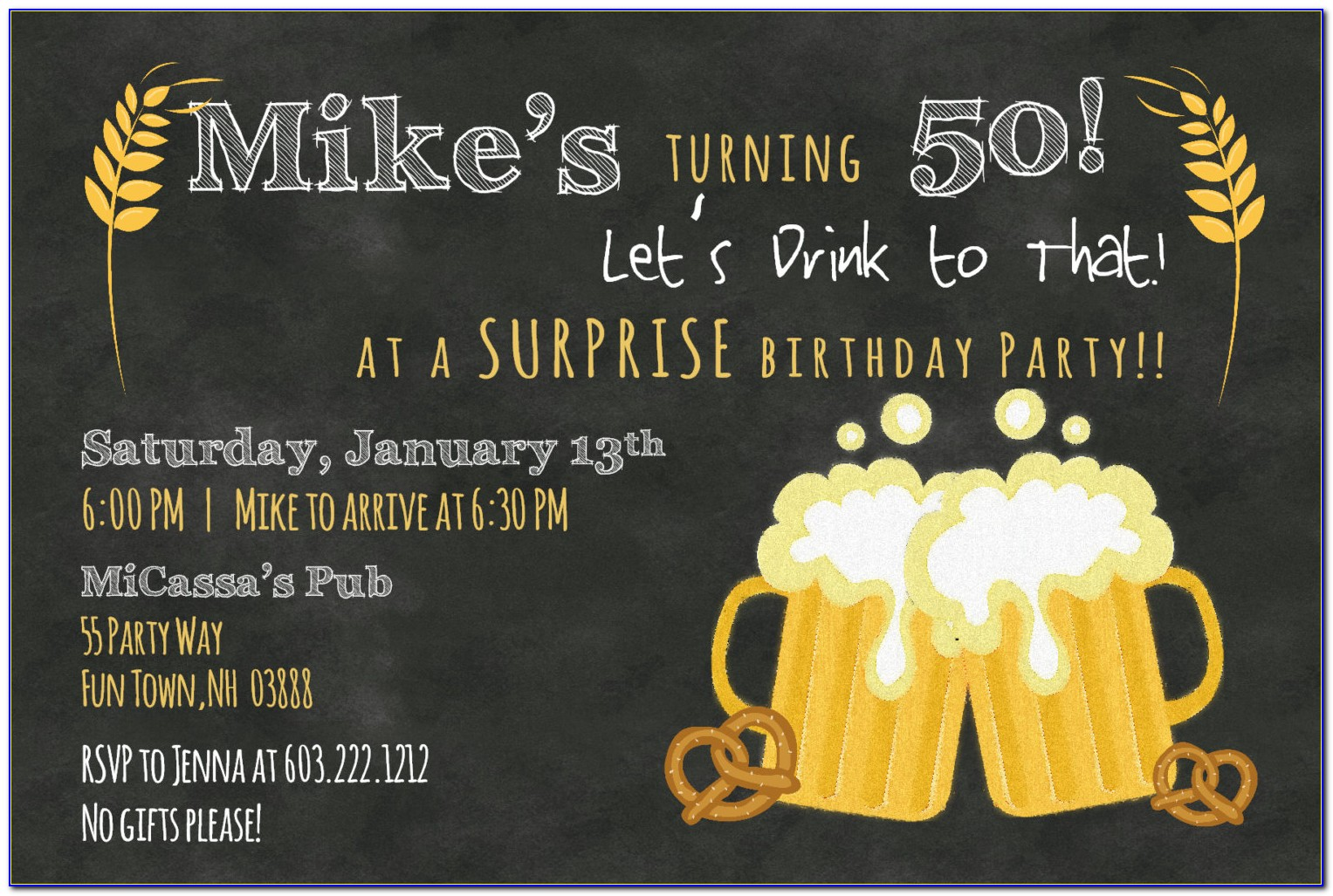 50th Birthday Party Invitation Templates Free Download 1