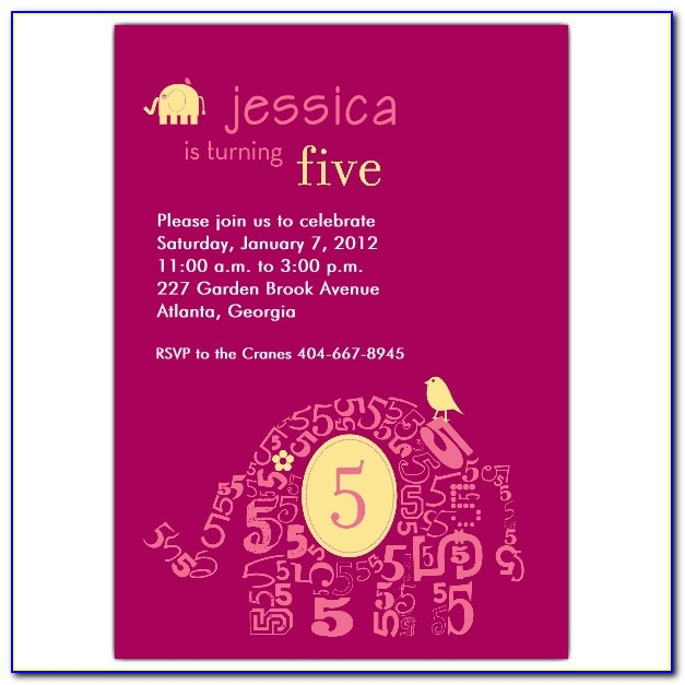 5th Birthday Invitation Card Wording