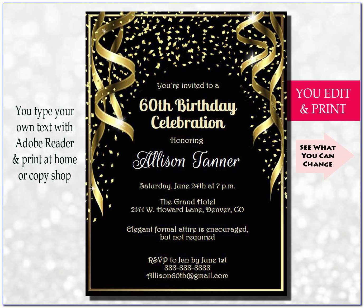 60th Birthday Invitations For Male