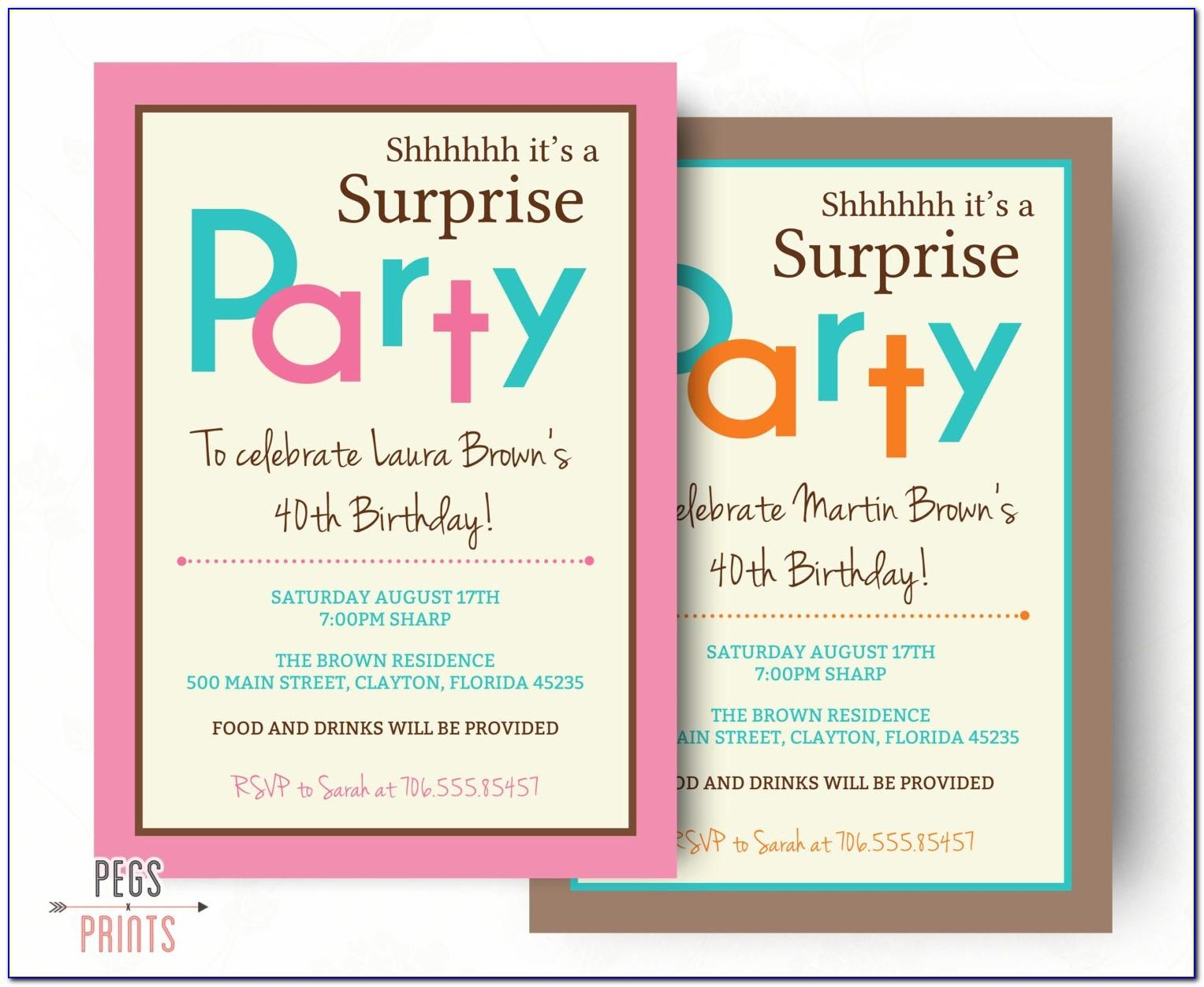 60th Surprise Party Invitation Templates