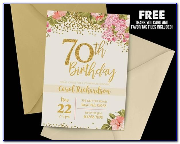 70th Birthday Invitation Cards Templates