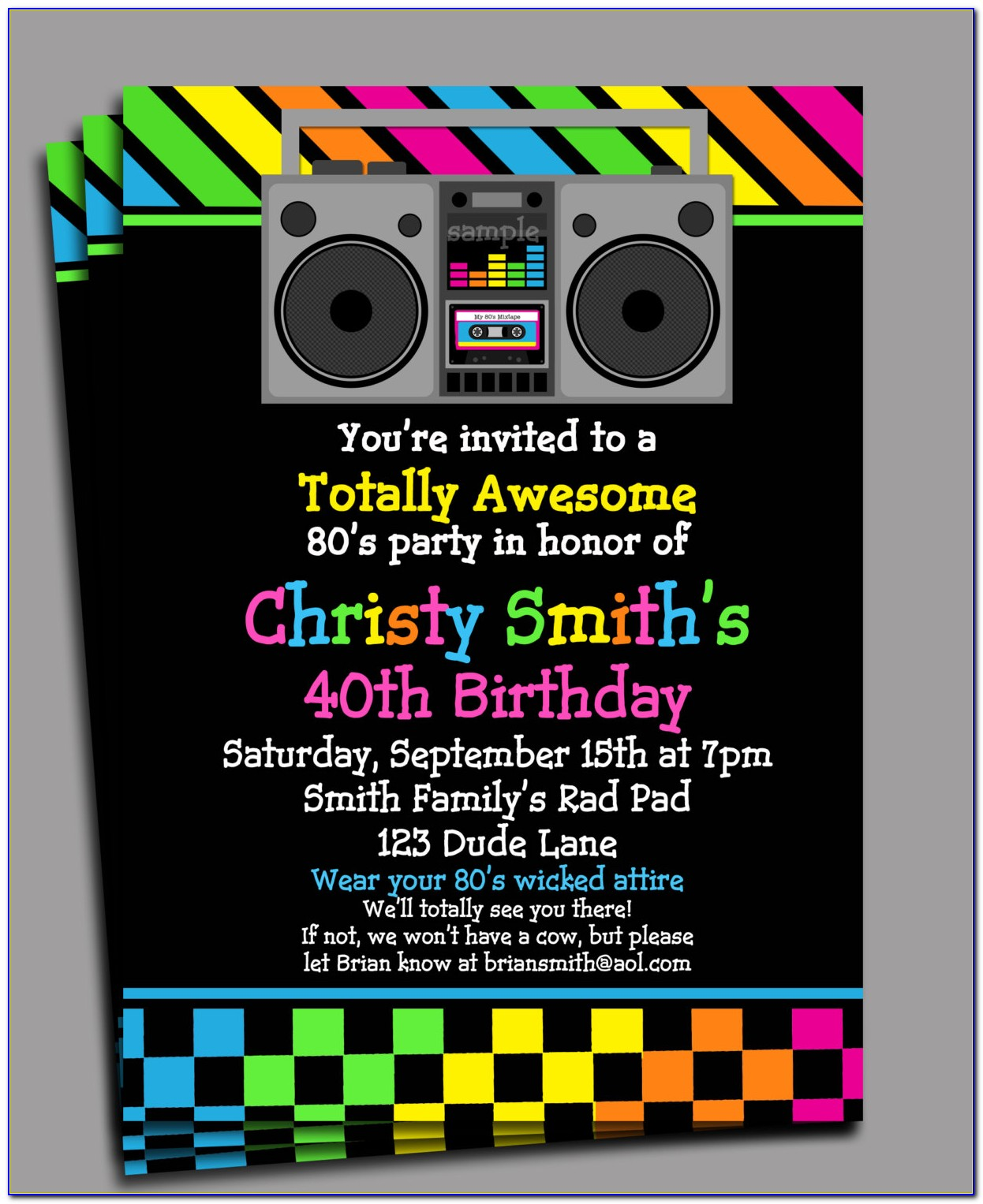 80s Party Invitations Printable