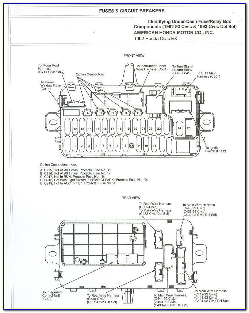 93 Honda Civic Fuse Box Diagram
