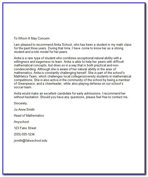 Aamc Letter Of Recommendation Format