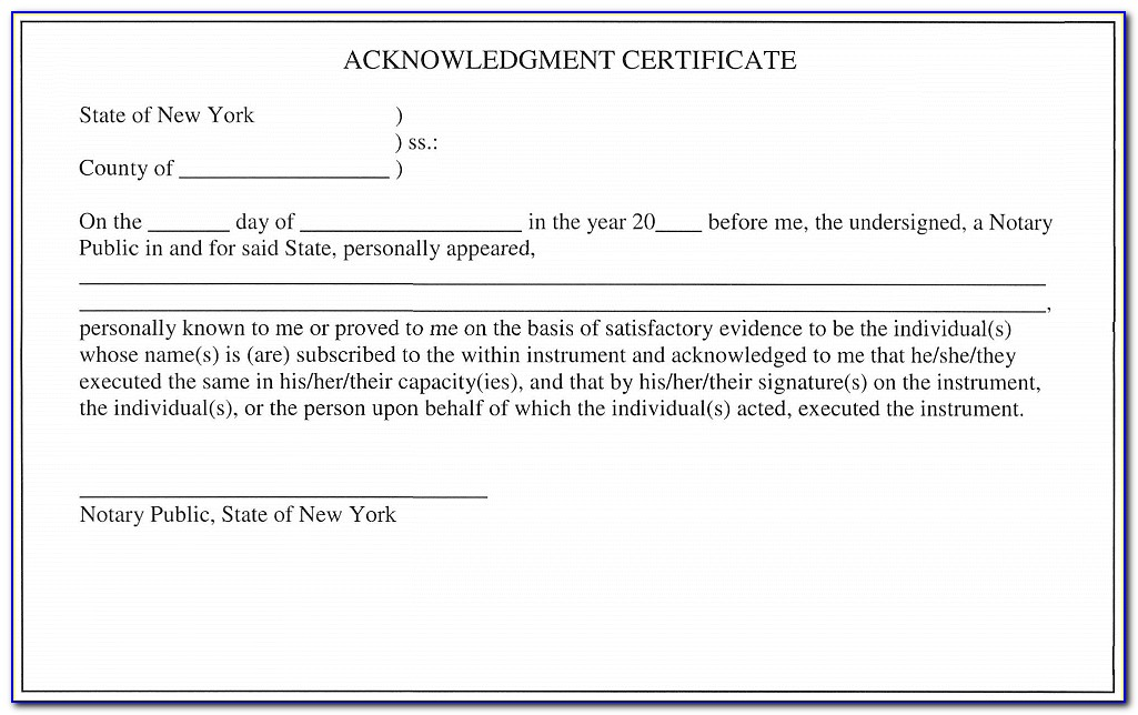 Acknowledgment Certificates Notary
