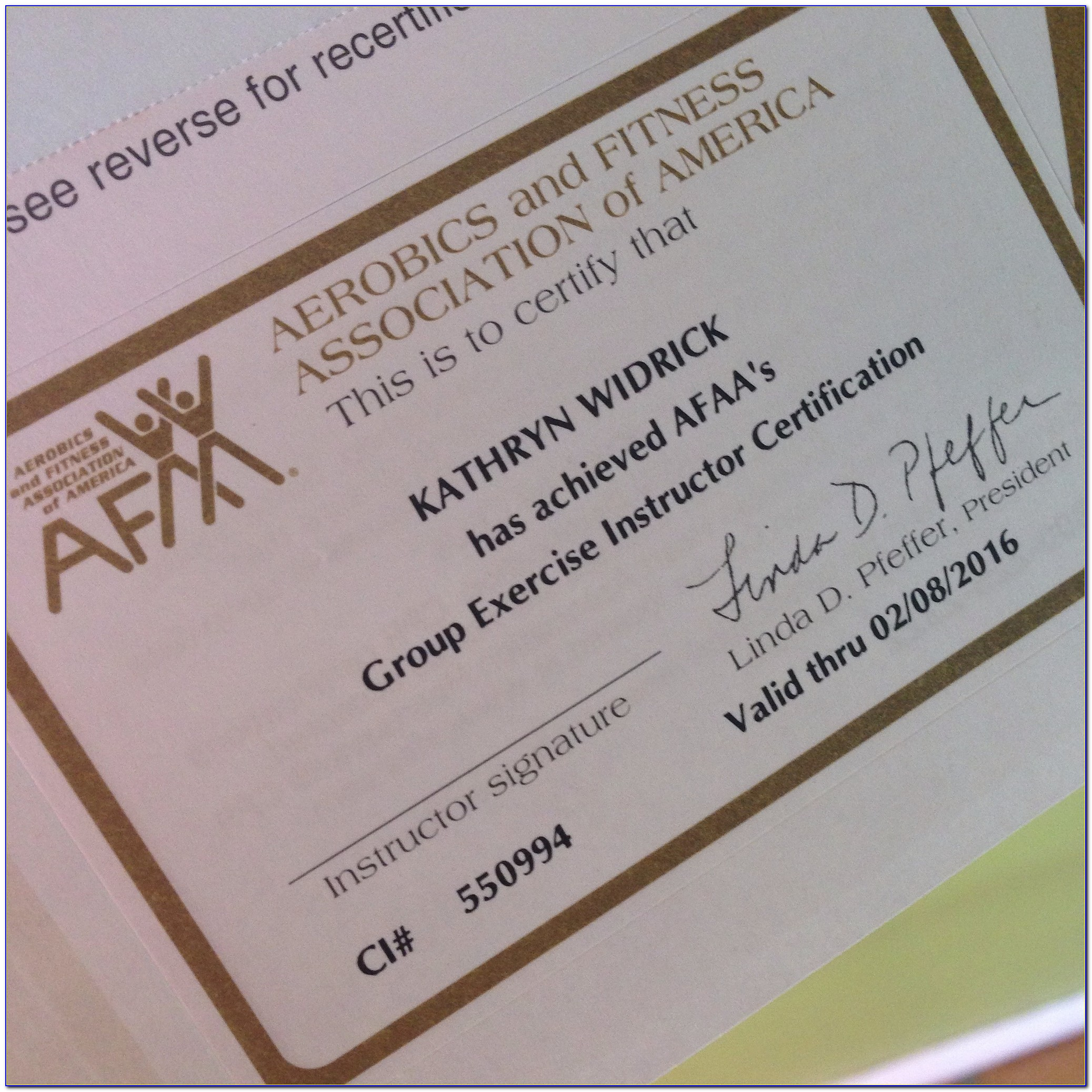 Afaa Online Group Exercise Certification