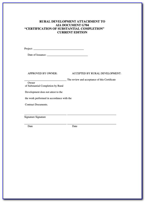Aia Document Certificate Of Substantial Completion
