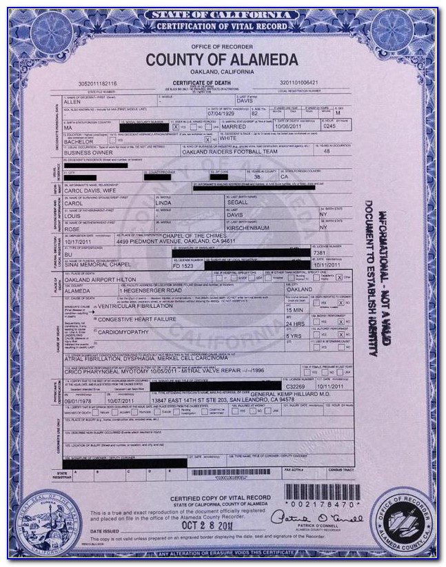 Alameda County Death Records Database