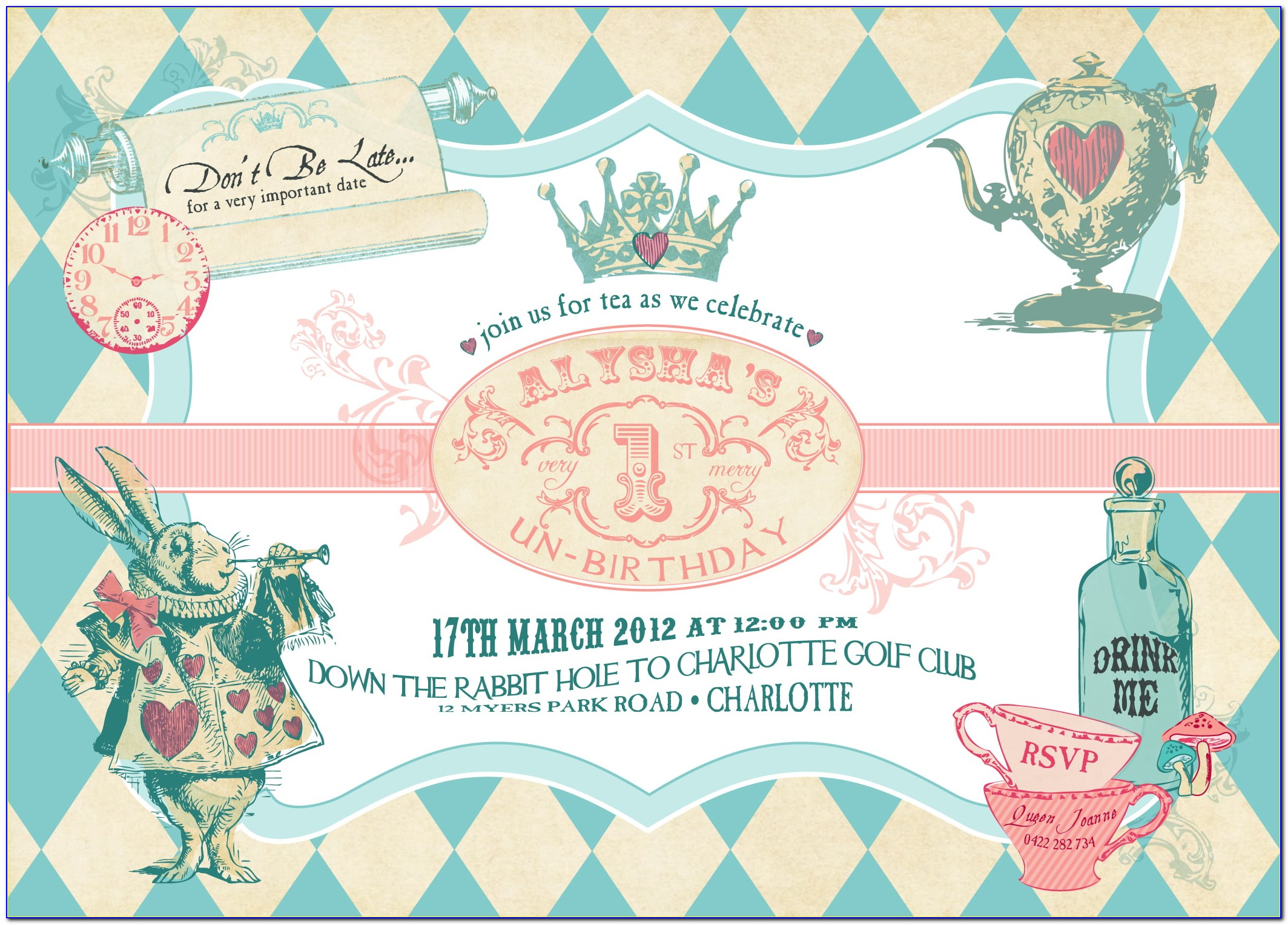 Alice In Wonderland Party Invitations Free