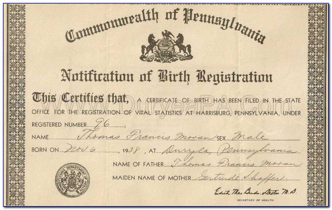 Allegheny County Birth Certificate Application