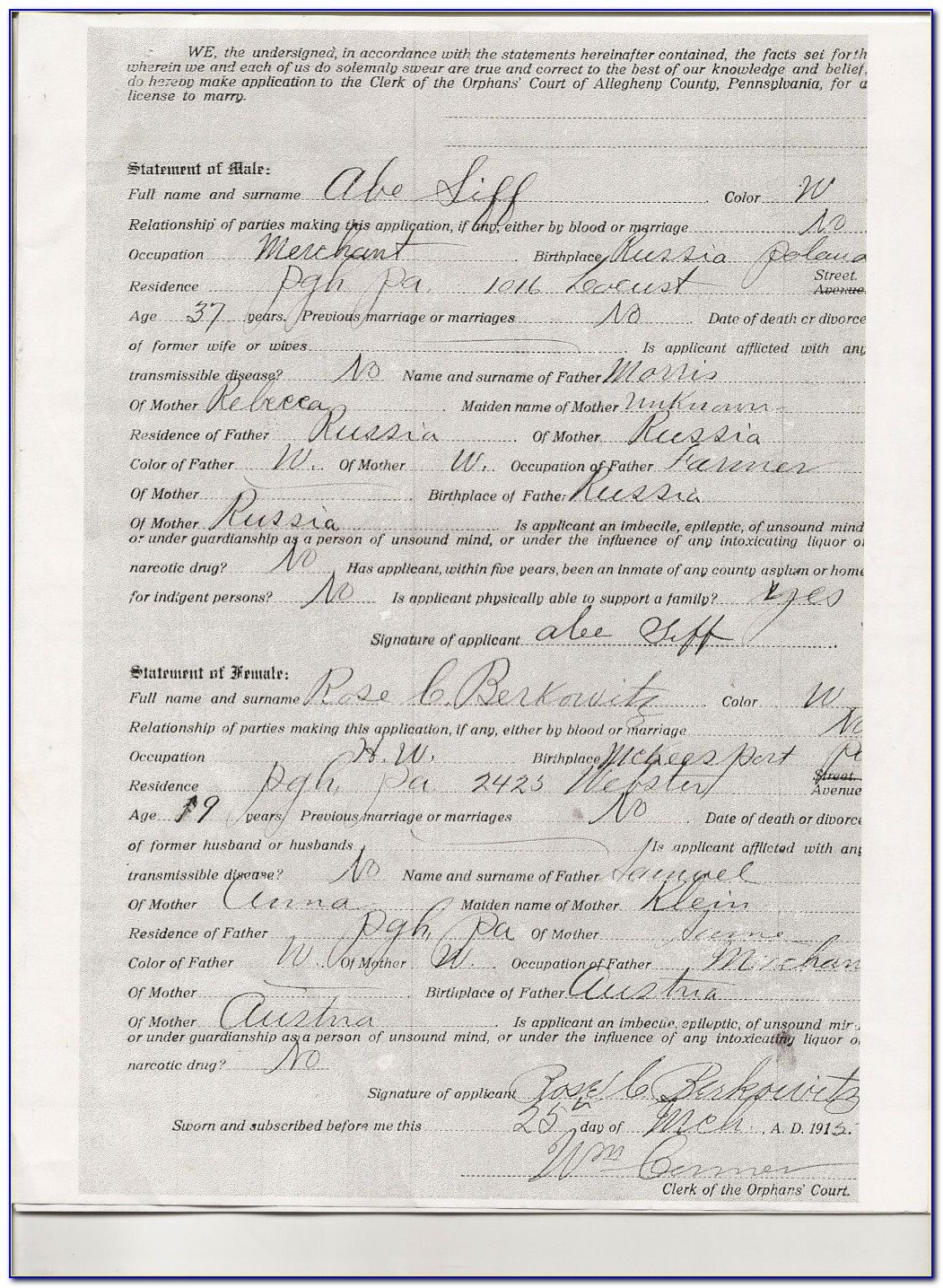 Allegheny County Records Birth Certificate