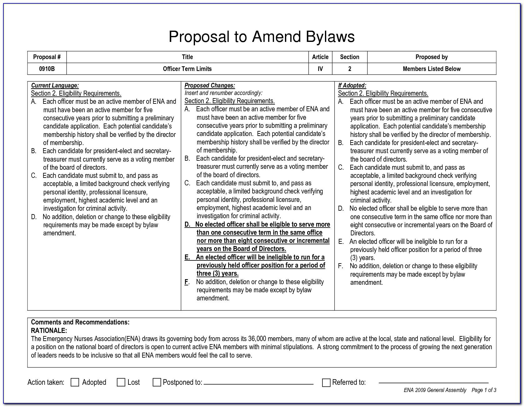 Amendment To Bylaws Example