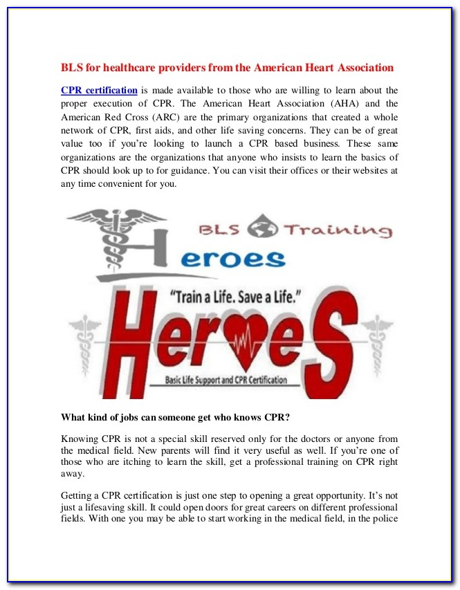 American Heart Association Aha Healthcare Provider Bls Certification Required