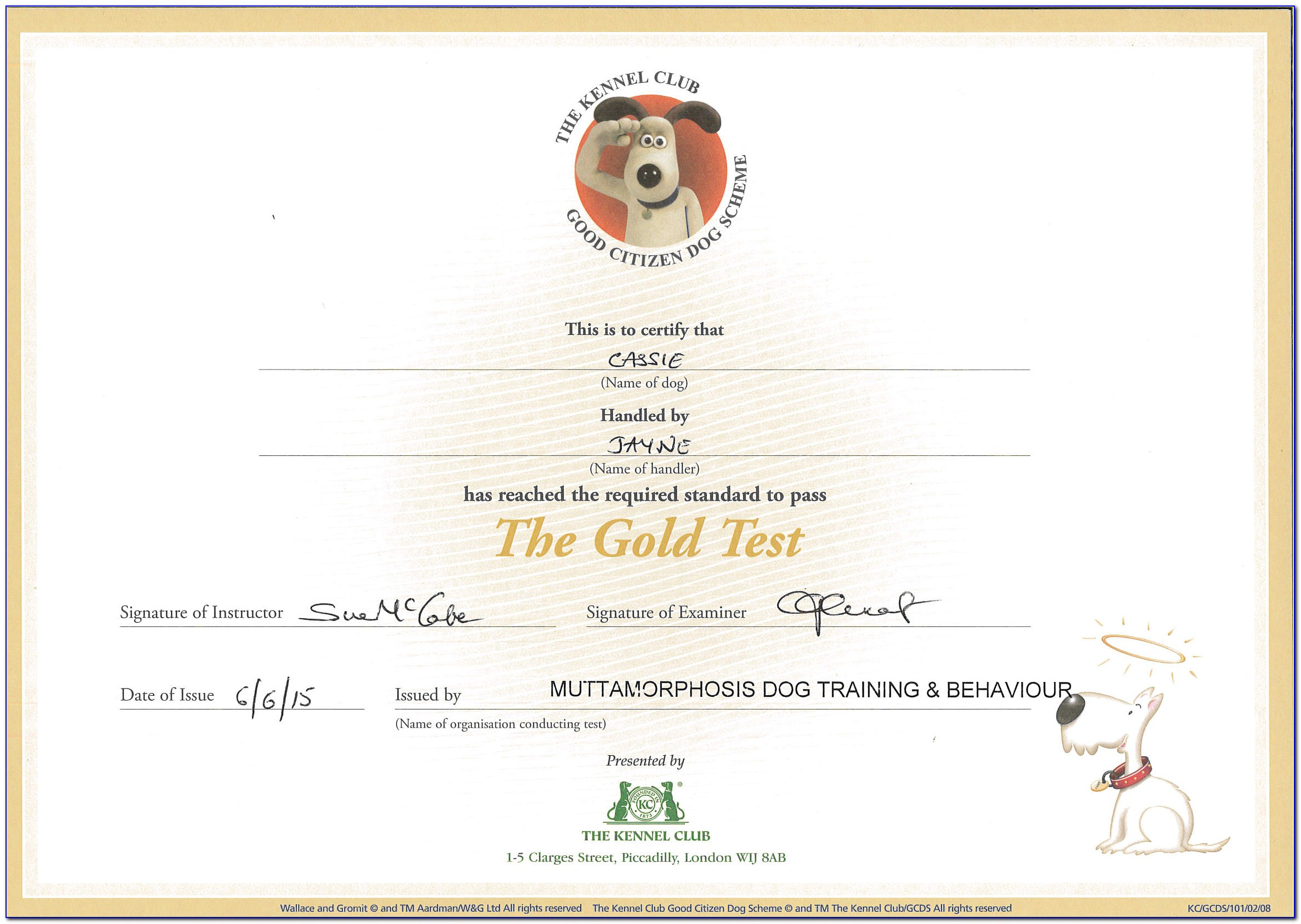 American Kennel Club Canine Good Citizen Certificate