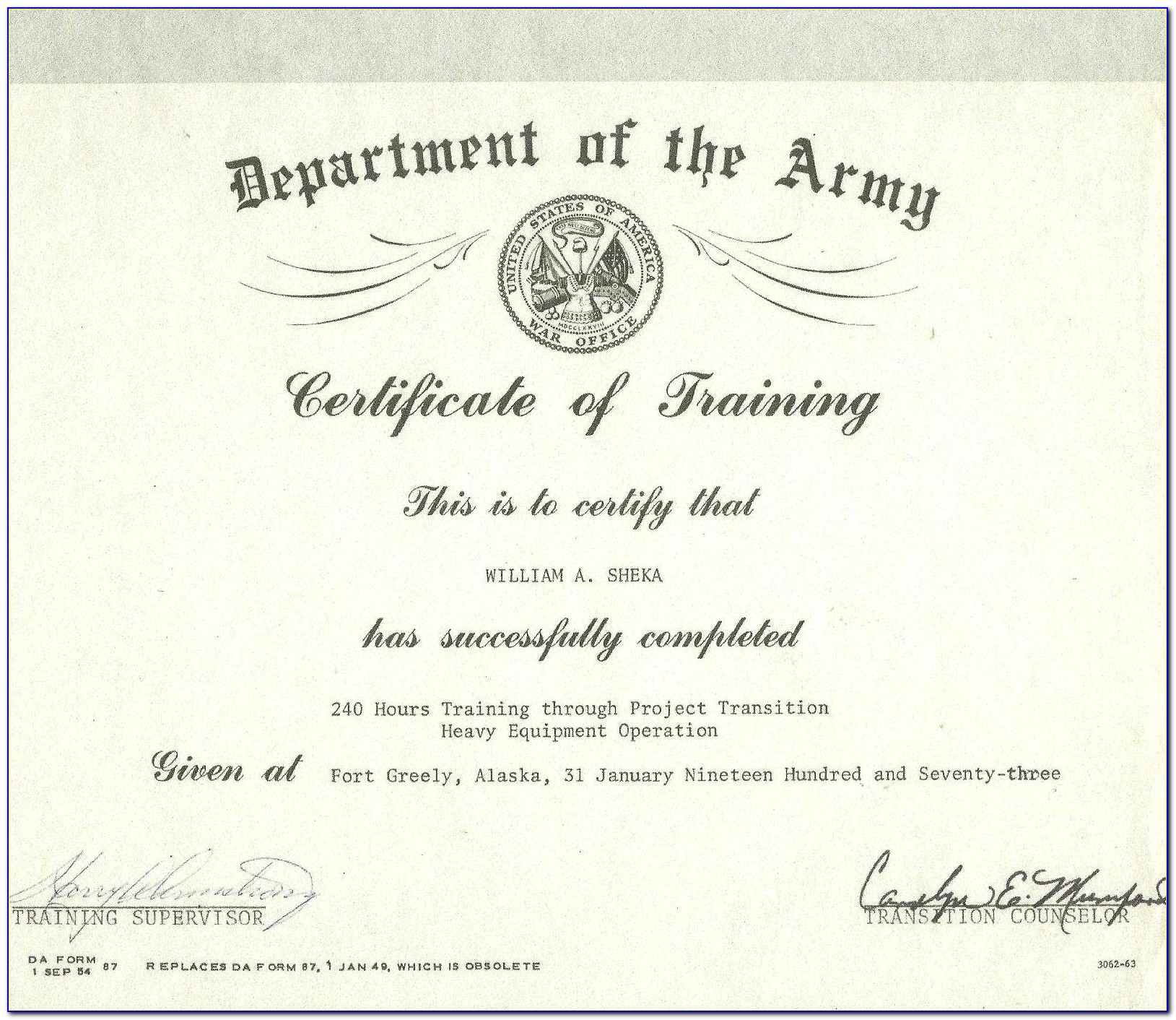 Army Retirement Certificate Frame