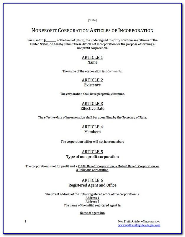 Articles Of Incorporation Template For Nonprofit