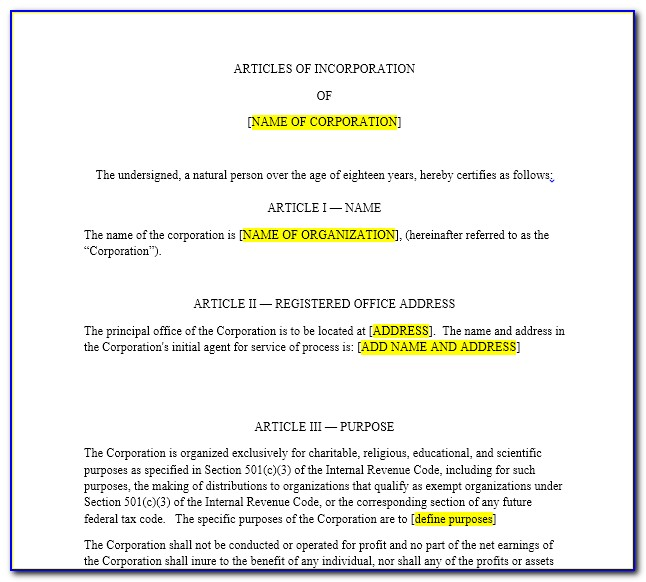 Articles Of Incorporation Template Llc 3