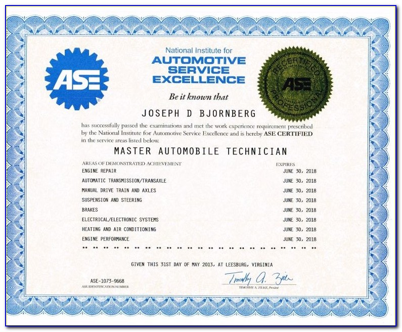 Ase Blue Seal Certification
