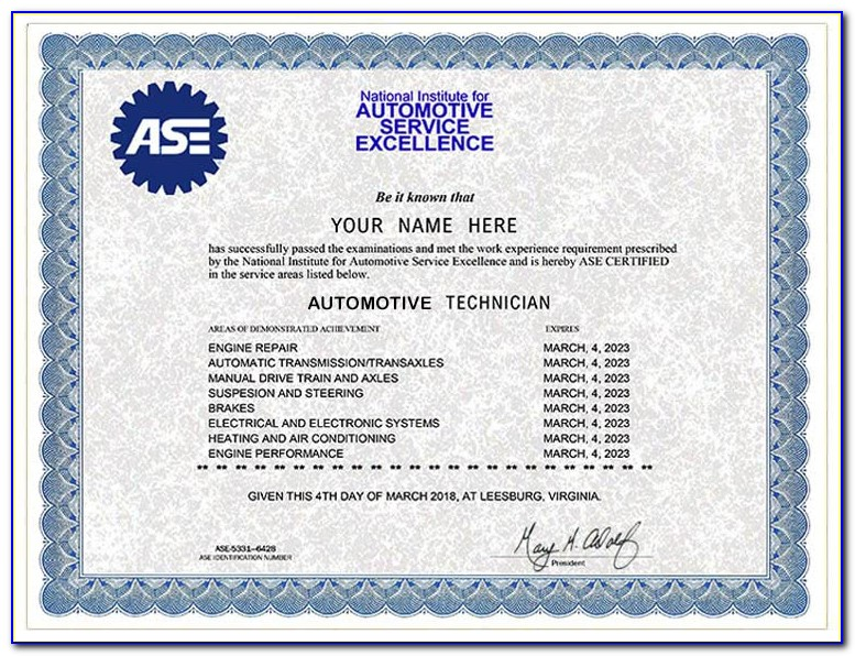 Ase Certification San Diego