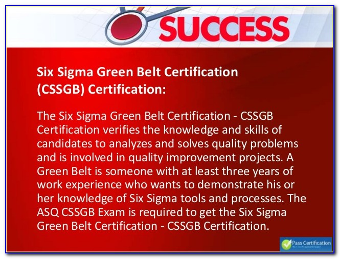 Asq Green Belt Certification Passing Score