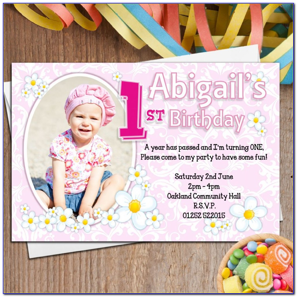 Baby Girl Birthday Invitation Card Vector