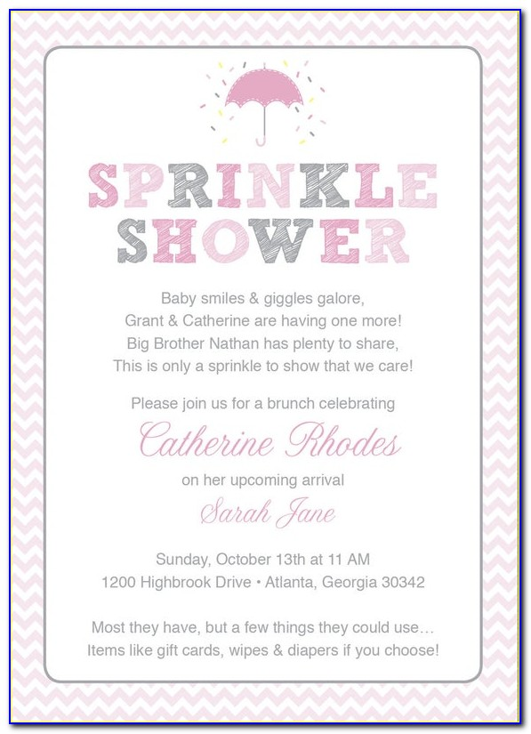 Baby Girl Sprinkle Invitation Wording
