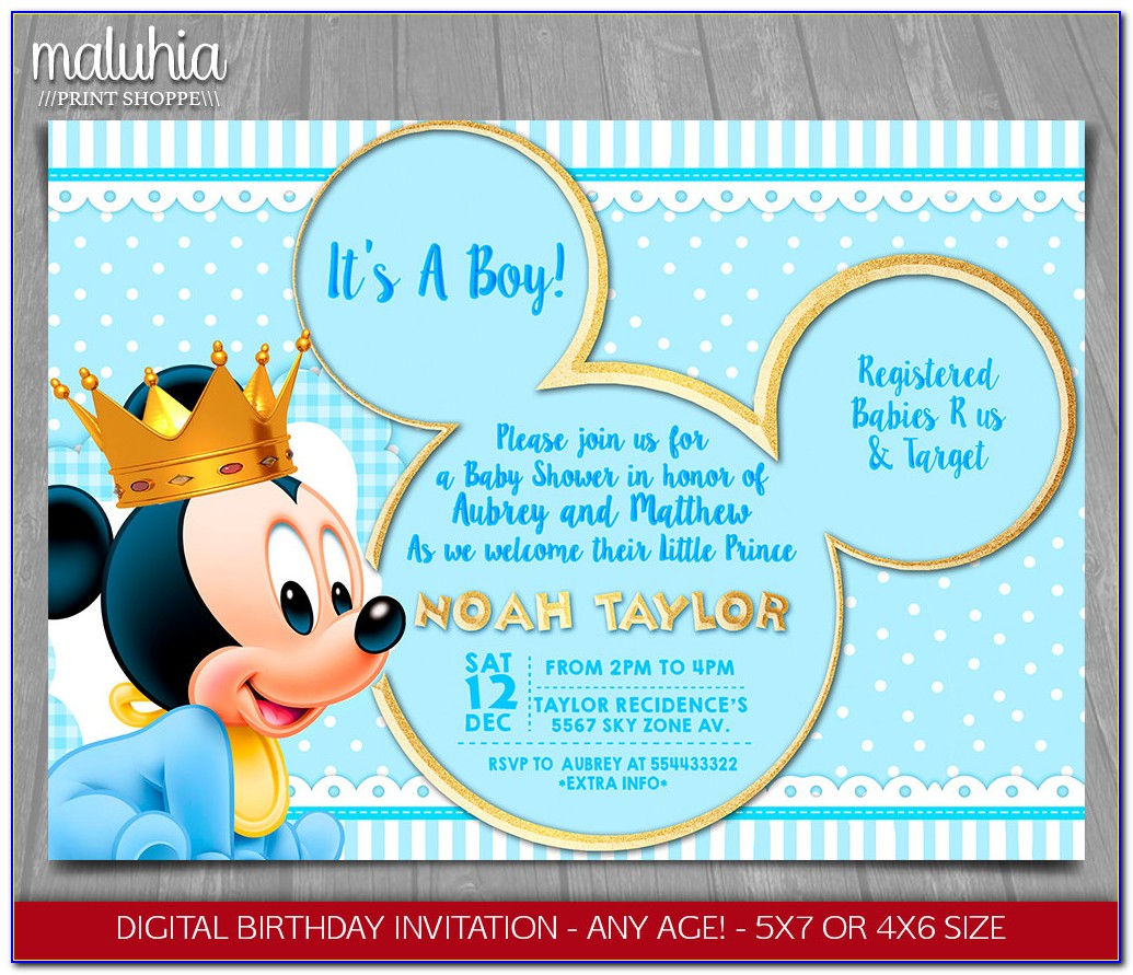 Baby Mickey Mouse Baby Shower Invitations Printable