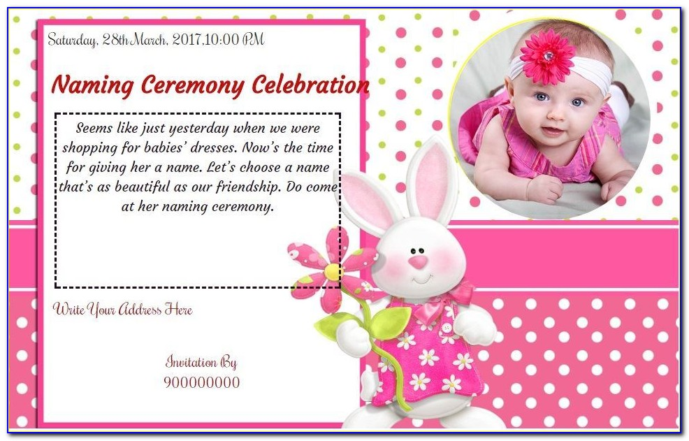 Baby Naming Invitation Card
