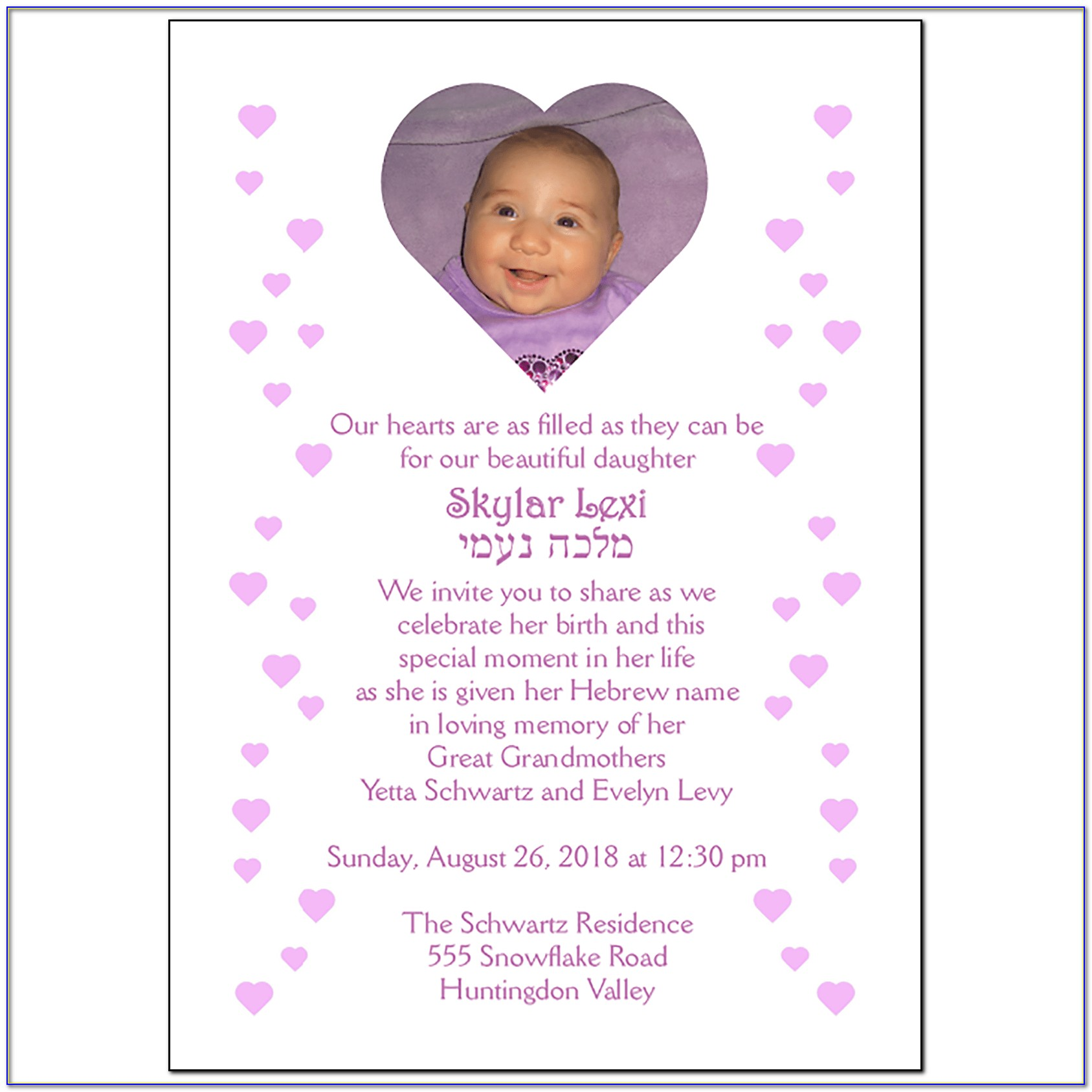 Baby Naming Invitation Wording