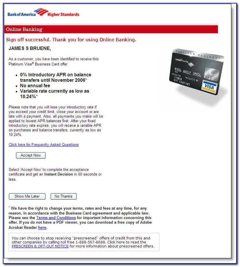 Bank Of America Platinum Visa Business Credit Card