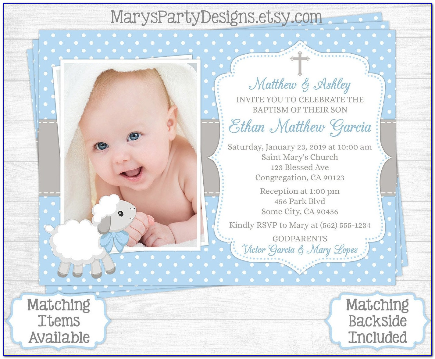 Baptismal Invitation For Baby Boy With Godparents