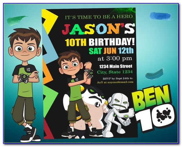 Ben 10 Personalized Birthday Invitations