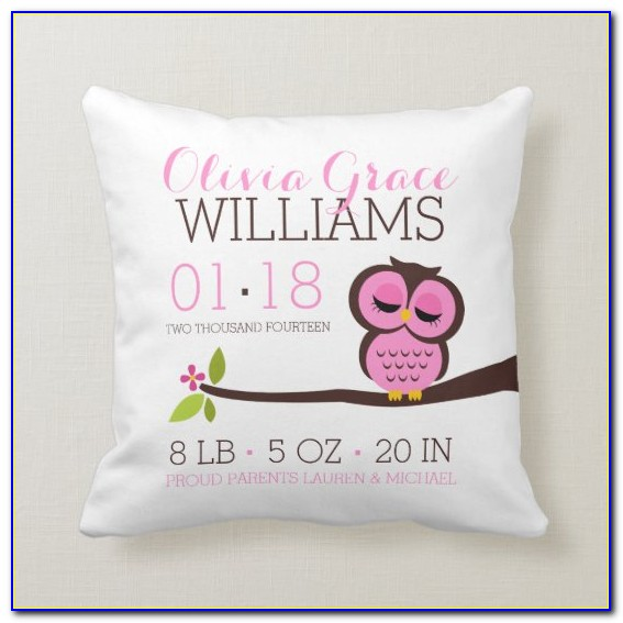 Birth Announcement Pillow Embroidery