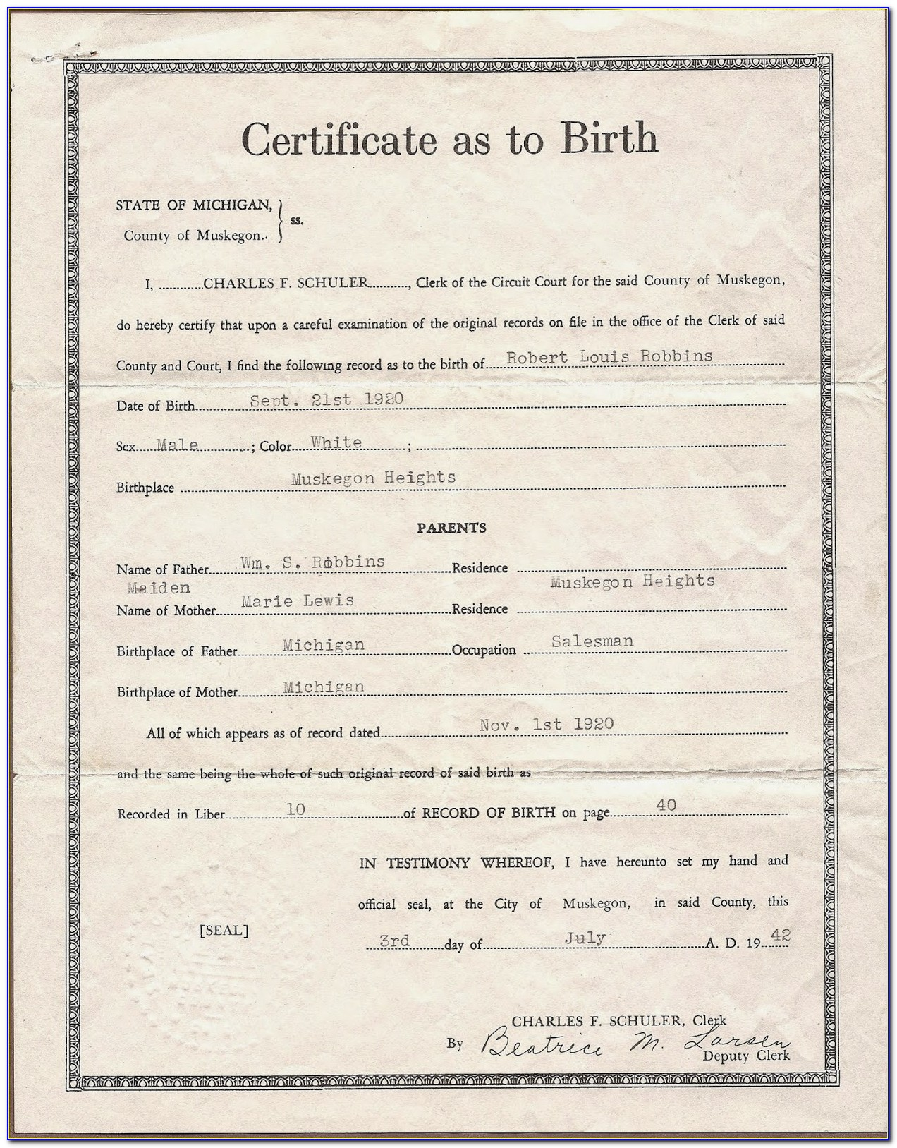 Birth Certificate Muskegon Mi