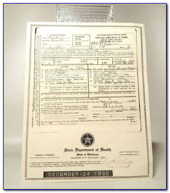 Birth Certificate Notary Sample