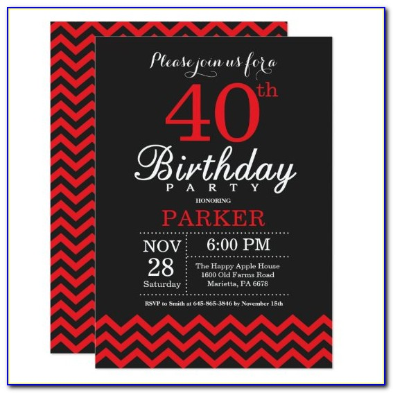 Black And Red 40th Birthday Invitations