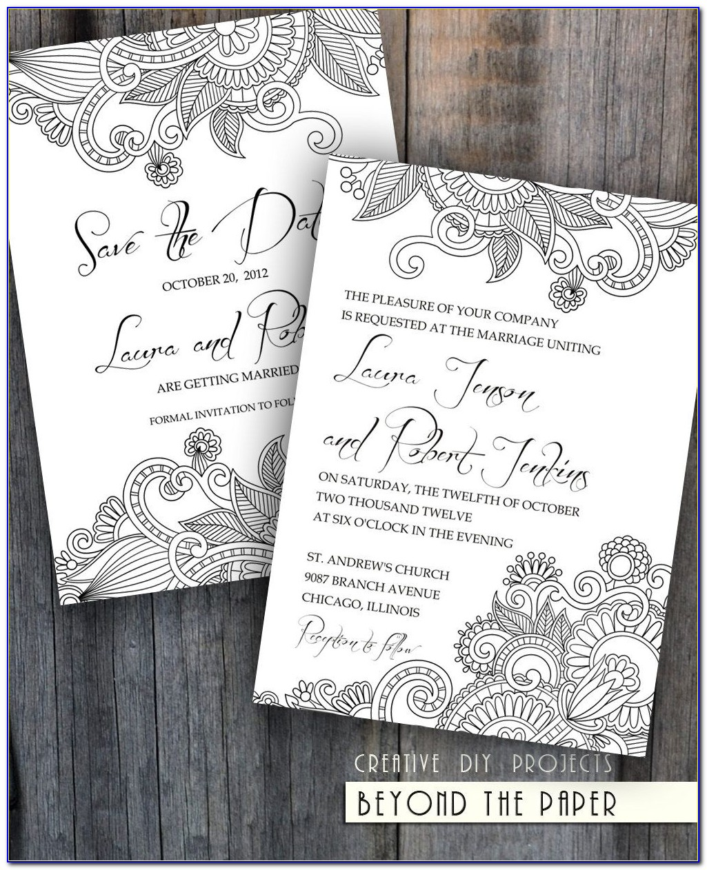 Black And White Flowers For Wedding Cards