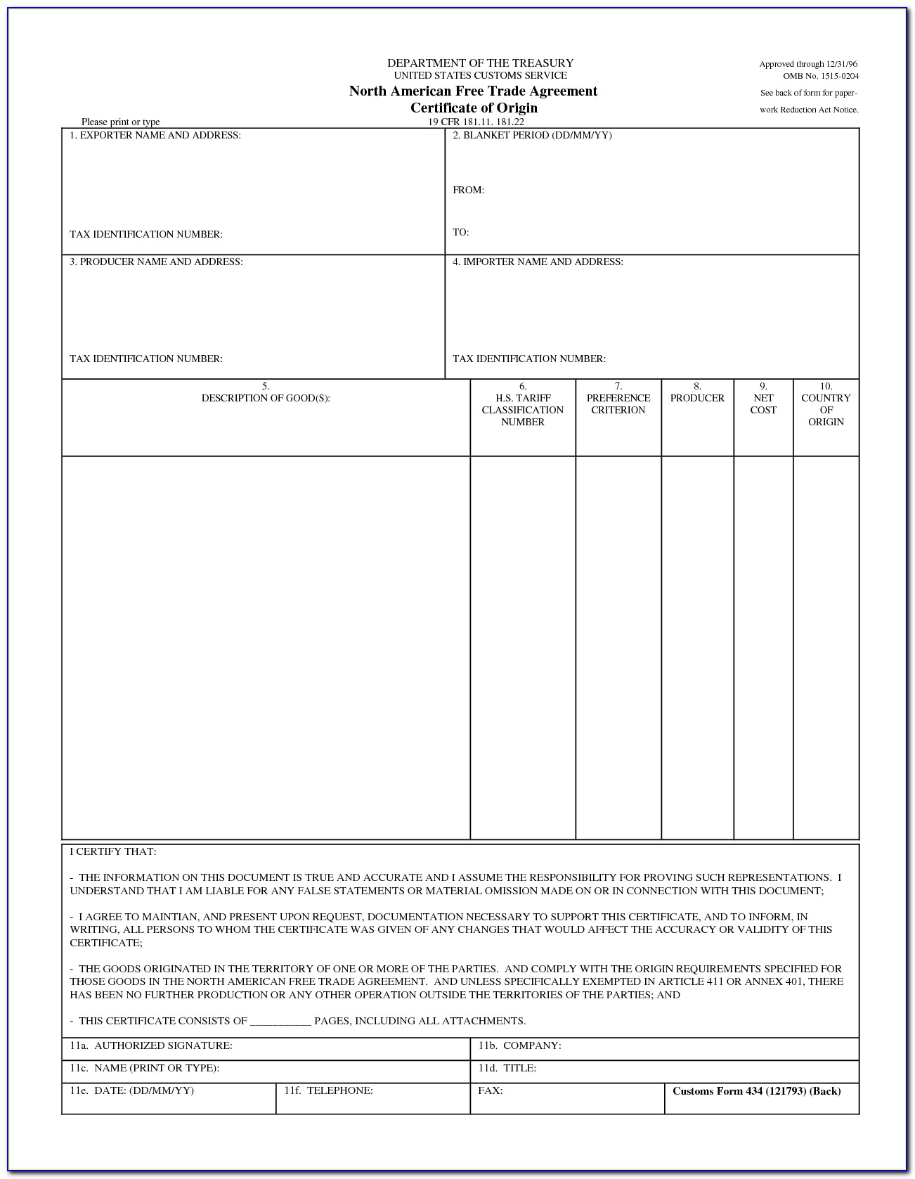 Blank Certificate Of Origin For A Vehicle