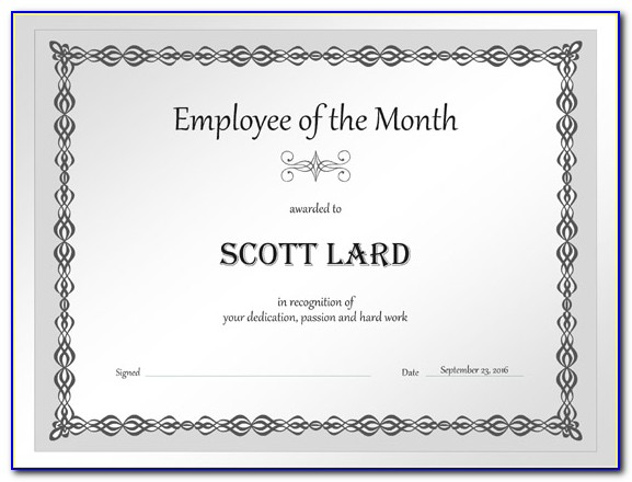Blank Employee Of The Month Certificate Templates
