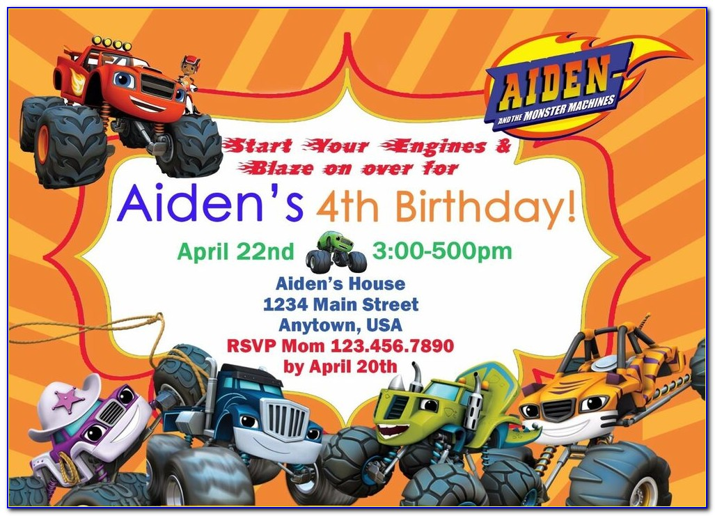 Blaze And The Monster Machines Invitation Templates Free