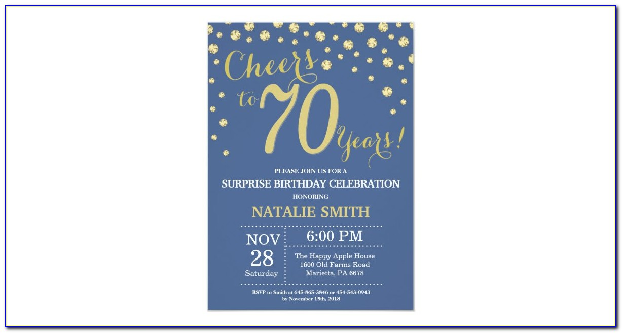 Blue And Gold 70th Birthday Invitations