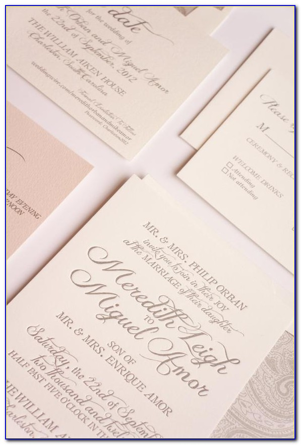 Blush And Grey Wedding Invitations