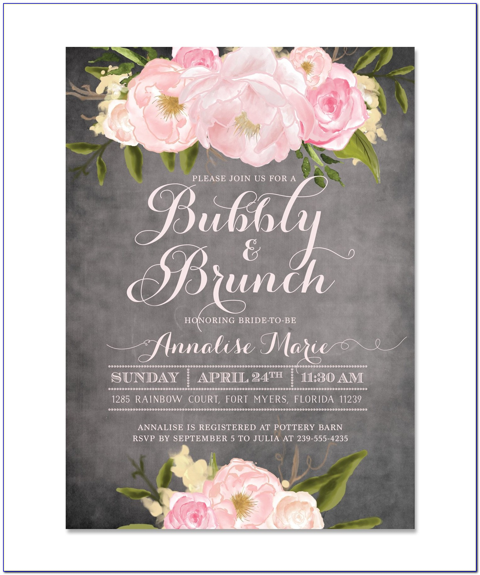 Bridal Brunch And Bubbly Invitations