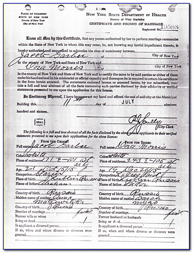 Bronx Courthouse Marriage Certificate