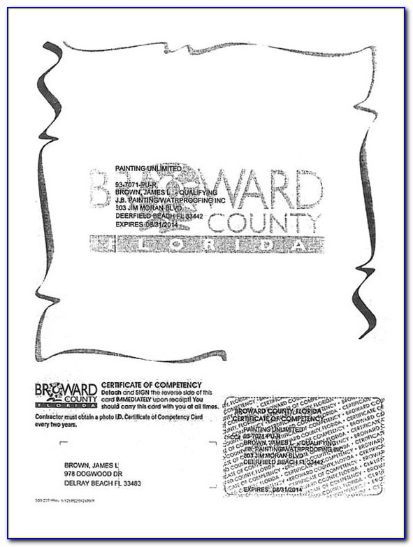 Broward County Florida Certificate Of Competency