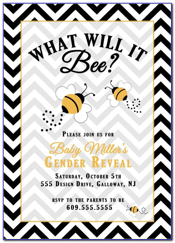 Bumble Bee Themed Gender Reveal Invitations