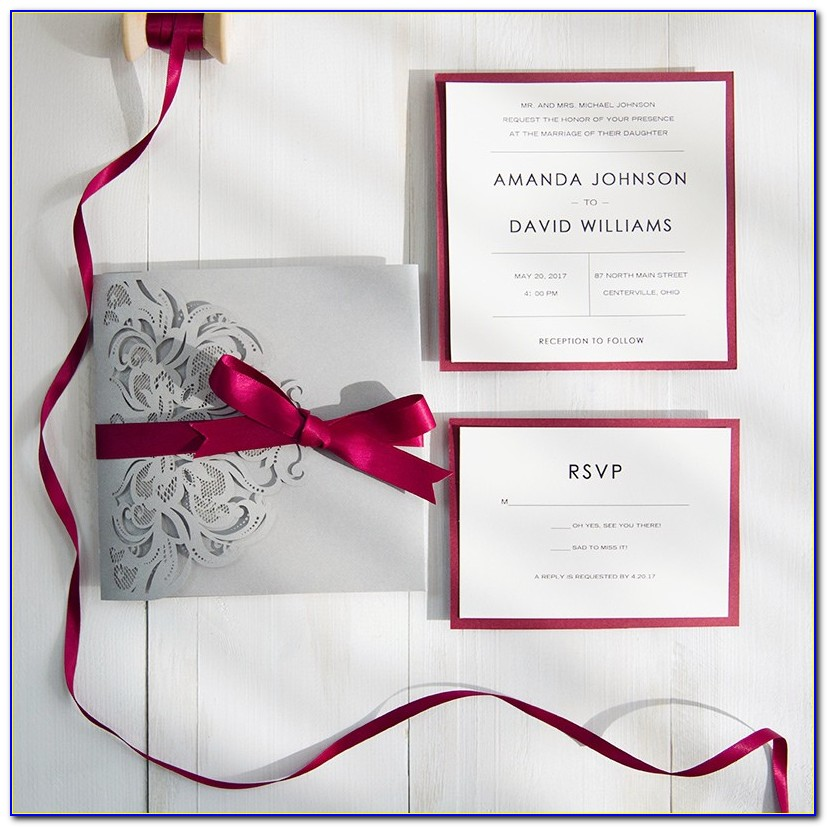 Burgundy And Grey Wedding Invitations