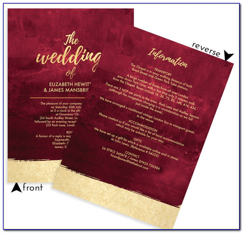 Burgundy And Rose Gold Wedding Invitations